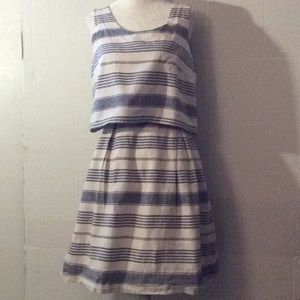 Madewell cream & white sleeveless linen dress # 4
